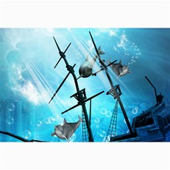 Awesome Ship Wreck With Dolphin And Light Effects Collage 12  x 18