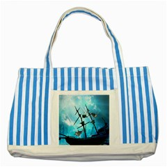 Awesome Ship Wreck With Dolphin And Light Effects Striped Blue Tote Bag