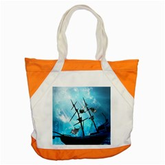 Awesome Ship Wreck With Dolphin And Light Effects Accent Tote Bag