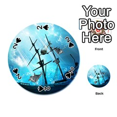Awesome Ship Wreck With Dolphin And Light Effects Playing Cards 54 (Round)