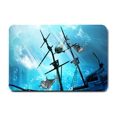 Awesome Ship Wreck With Dolphin And Light Effects Small Doormat