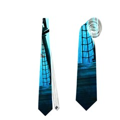 Awesome Ship Wreck With Dolphin And Light Effects Neckties (One Side)