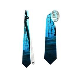 Awesome Ship Wreck With Dolphin And Light Effects Neckties (Two Side)