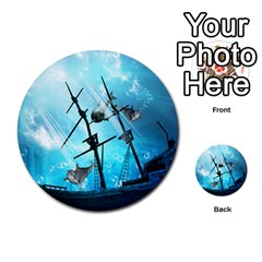 Awesome Ship Wreck With Dolphin And Light Effects Multi-purpose Cards (Round)