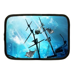 Awesome Ship Wreck With Dolphin And Light Effects Netbook Case (Medium)