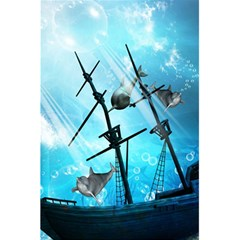 Awesome Ship Wreck With Dolphin And Light Effects 5.5  x 8.5  Notebooks