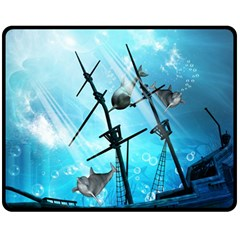 Awesome Ship Wreck With Dolphin And Light Effects Fleece Blanket (Medium)