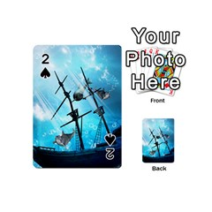 Awesome Ship Wreck With Dolphin And Light Effects Playing Cards 54 (mini)