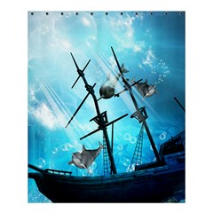 Awesome Ship Wreck With Dolphin And Light Effects Shower Curtain 60  X 72  (medium)
