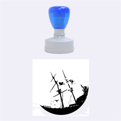 Awesome Ship Wreck With Dolphin And Light Effects Rubber Round Stamps (Medium)