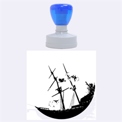 Awesome Ship Wreck With Dolphin And Light Effects Rubber Round Stamps (Large)