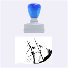 Awesome Ship Wreck With Dolphin And Light Effects Rubber Oval Stamps
