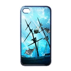 Awesome Ship Wreck With Dolphin And Light Effects Apple iPhone 4 Case (Black)