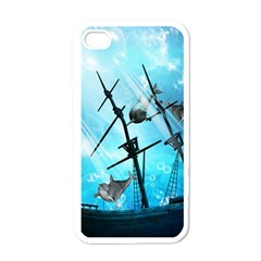Awesome Ship Wreck With Dolphin And Light Effects Apple iPhone 4 Case (White)