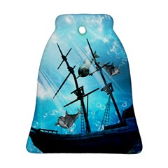 Awesome Ship Wreck With Dolphin And Light Effects Bell Ornament (2 Sides)