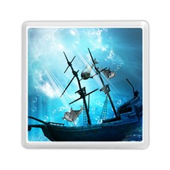 Awesome Ship Wreck With Dolphin And Light Effects Memory Card Reader (Square)