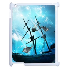 Awesome Ship Wreck With Dolphin And Light Effects Apple iPad 2 Case (White)