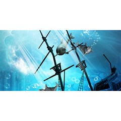 Awesome Ship Wreck With Dolphin And Light Effects You Are Invited 3d Greeting Card (8x4)