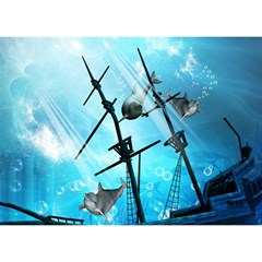 Awesome Ship Wreck With Dolphin And Light Effects Birthday Cake 3d Greeting Card (7x5)