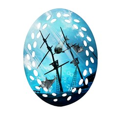 Awesome Ship Wreck With Dolphin And Light Effects Oval Filigree Ornament (2-Side)