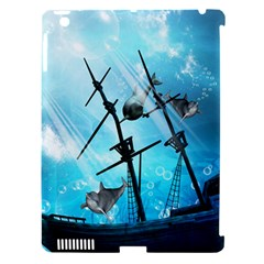 Awesome Ship Wreck With Dolphin And Light Effects Apple iPad 3/4 Hardshell Case (Compatible with Smart Cover)