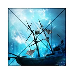 Awesome Ship Wreck With Dolphin And Light Effects Acrylic Tangram Puzzle (6  x 6 )