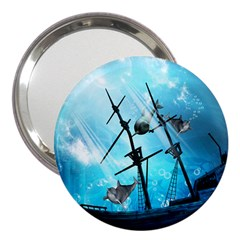 Awesome Ship Wreck With Dolphin And Light Effects 3  Handbag Mirrors