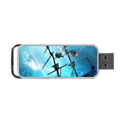 Awesome Ship Wreck With Dolphin And Light Effects Portable USB Flash (One Side)