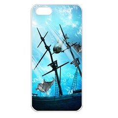 Awesome Ship Wreck With Dolphin And Light Effects Apple iPhone 5 Seamless Case (White)