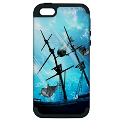 Awesome Ship Wreck With Dolphin And Light Effects Apple iPhone 5 Hardshell Case (PC+Silicone)