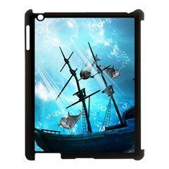 Awesome Ship Wreck With Dolphin And Light Effects Apple iPad 3/4 Case (Black)