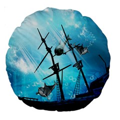Awesome Ship Wreck With Dolphin And Light Effects Large 18  Premium Round Cushions