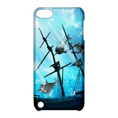 Awesome Ship Wreck With Dolphin And Light Effects Apple iPod Touch 5 Hardshell Case with Stand