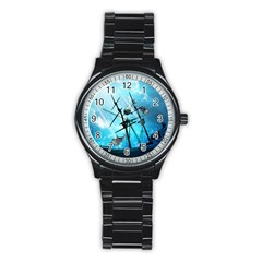 Awesome Ship Wreck With Dolphin And Light Effects Stainless Steel Round Watches