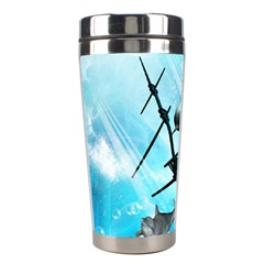 Awesome Ship Wreck With Dolphin And Light Effects Stainless Steel Travel Tumblers