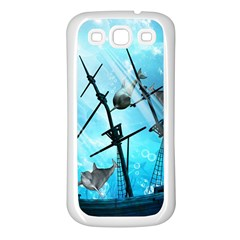 Awesome Ship Wreck With Dolphin And Light Effects Samsung Galaxy S3 Back Case (White)