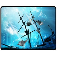 Awesome Ship Wreck With Dolphin And Light Effects Double Sided Fleece Blanket (Medium)