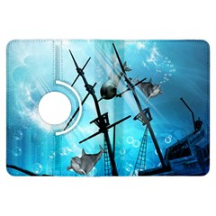 Awesome Ship Wreck With Dolphin And Light Effects Kindle Fire HDX Flip 360 Case