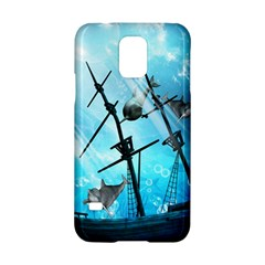 Awesome Ship Wreck With Dolphin And Light Effects Samsung Galaxy S5 Hardshell Case