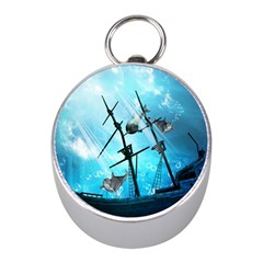 Awesome Ship Wreck With Dolphin And Light Effects Mini Silver Compasses