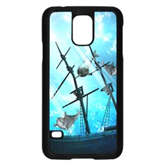 Awesome Ship Wreck With Dolphin And Light Effects Samsung Galaxy S5 Case (Black)