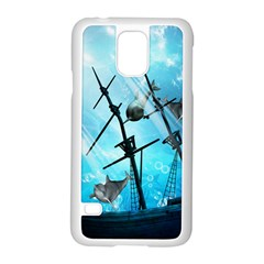 Awesome Ship Wreck With Dolphin And Light Effects Samsung Galaxy S5 Case (White)
