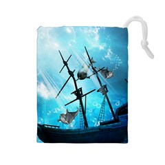 Awesome Ship Wreck With Dolphin And Light Effects Drawstring Pouches (Large)