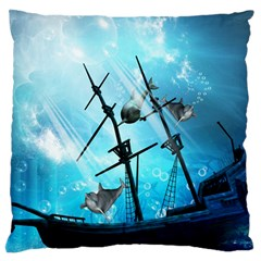 Awesome Ship Wreck With Dolphin And Light Effects Large Flano Cushion Cases (Two Sides)