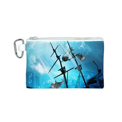 Awesome Ship Wreck With Dolphin And Light Effects Canvas Cosmetic Bag (S)