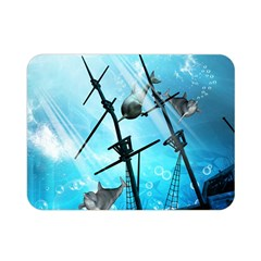 Awesome Ship Wreck With Dolphin And Light Effects Double Sided Flano Blanket (Mini)