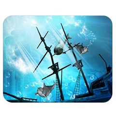 Awesome Ship Wreck With Dolphin And Light Effects Double Sided Flano Blanket (Medium)