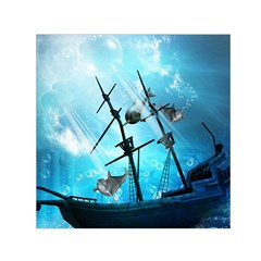 Awesome Ship Wreck With Dolphin And Light Effects Small Satin Scarf (Square)