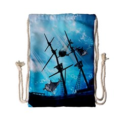 Awesome Ship Wreck With Dolphin And Light Effects Drawstring Bag (Small)