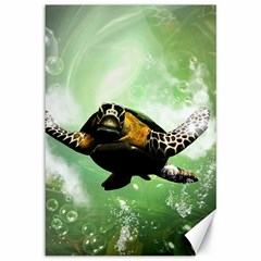 Wonderful Sea Turtle With Bubbles Canvas 12  x 18